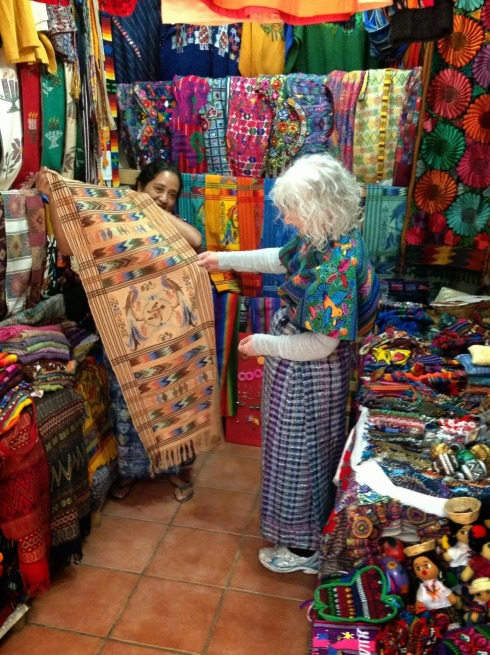 All the fabrics made on those looms. Note Virginia in traditional Guatemalan attire (she still wears it around the house...not)